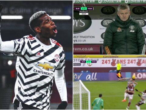Paul Pogba and Ole Gunnar Solskjaer reacts to Harry Maguire's disallowed Burnley goal