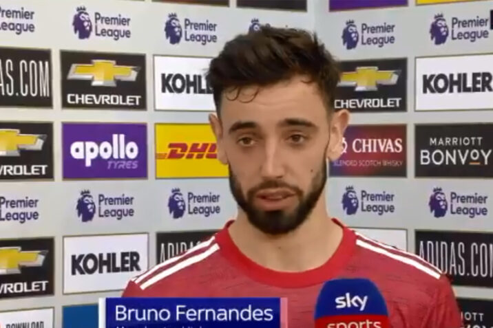 What Bruno Fernandes said after referee told him he assisted Edinson Cavani's goal